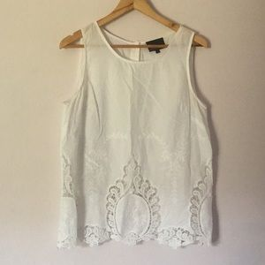 Cynthia Rowley sleeveless embroidered button back